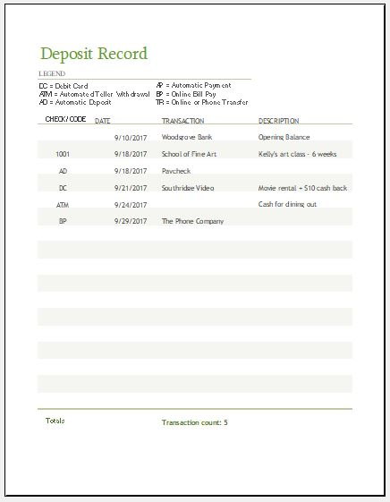 payment record sheet template