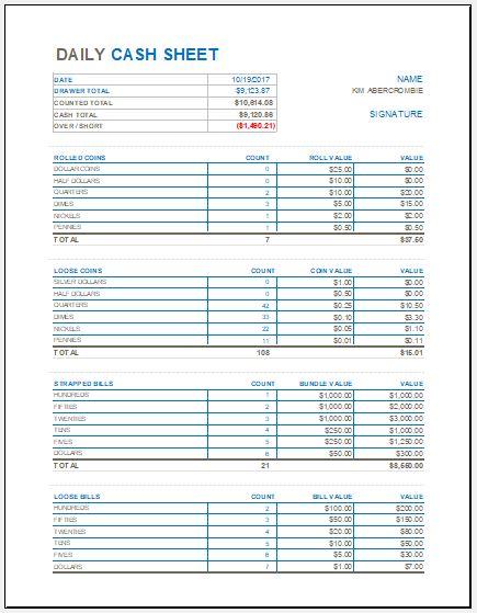 money log sheet
