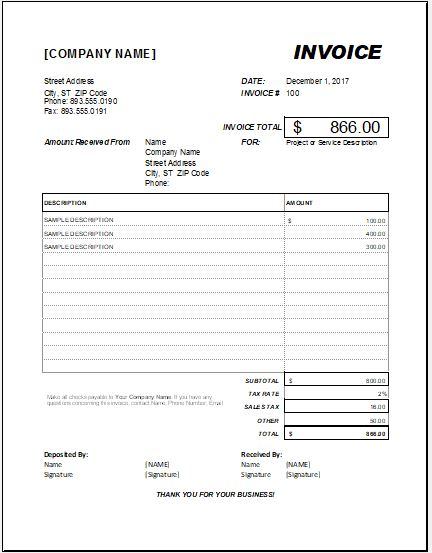 Advance Payment Invoice For MS Excel Template Excel
