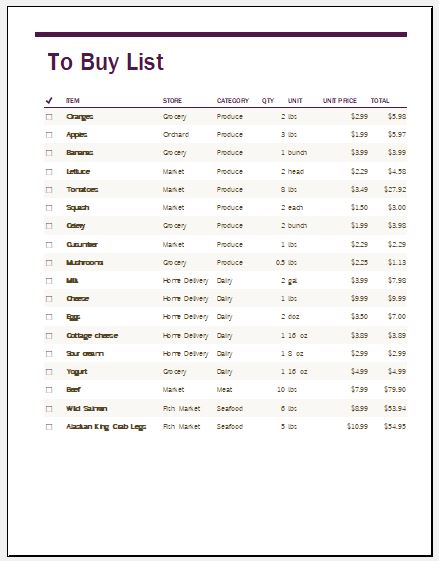 things to buy list template