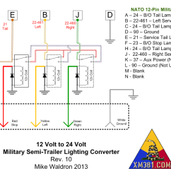 7 Pin Trailer Plug Wiring Diagram Nz International Dt466 Engine Xm381 12 Volt Civllian Truck To 24 Military