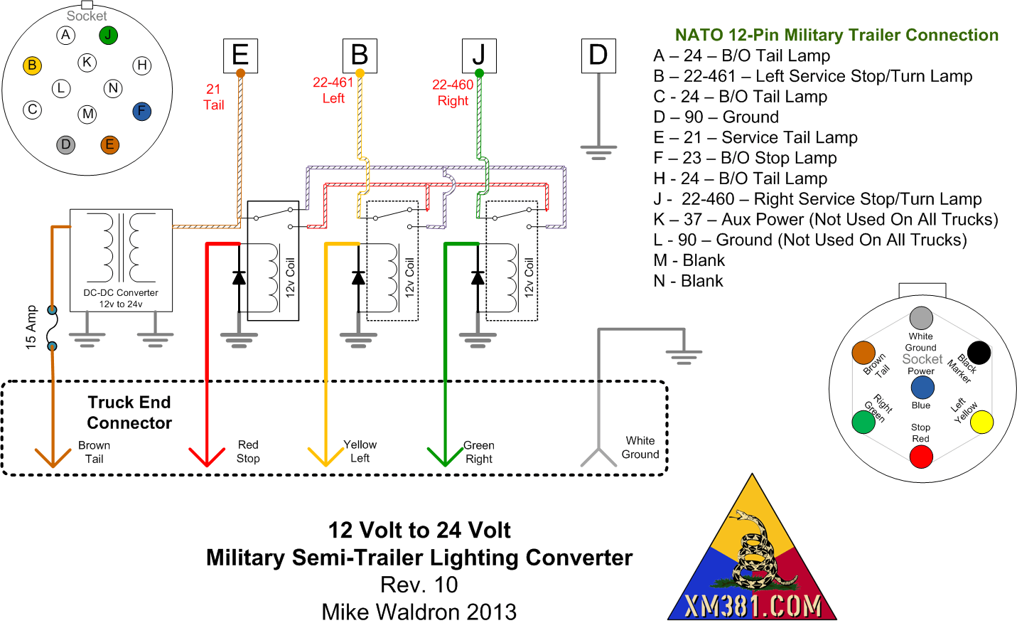 7 way round trailer plug wiring diagram symantec endpoint protection architecture xm381 12 volt civllian truck to 24 military lighting into the s nato socket