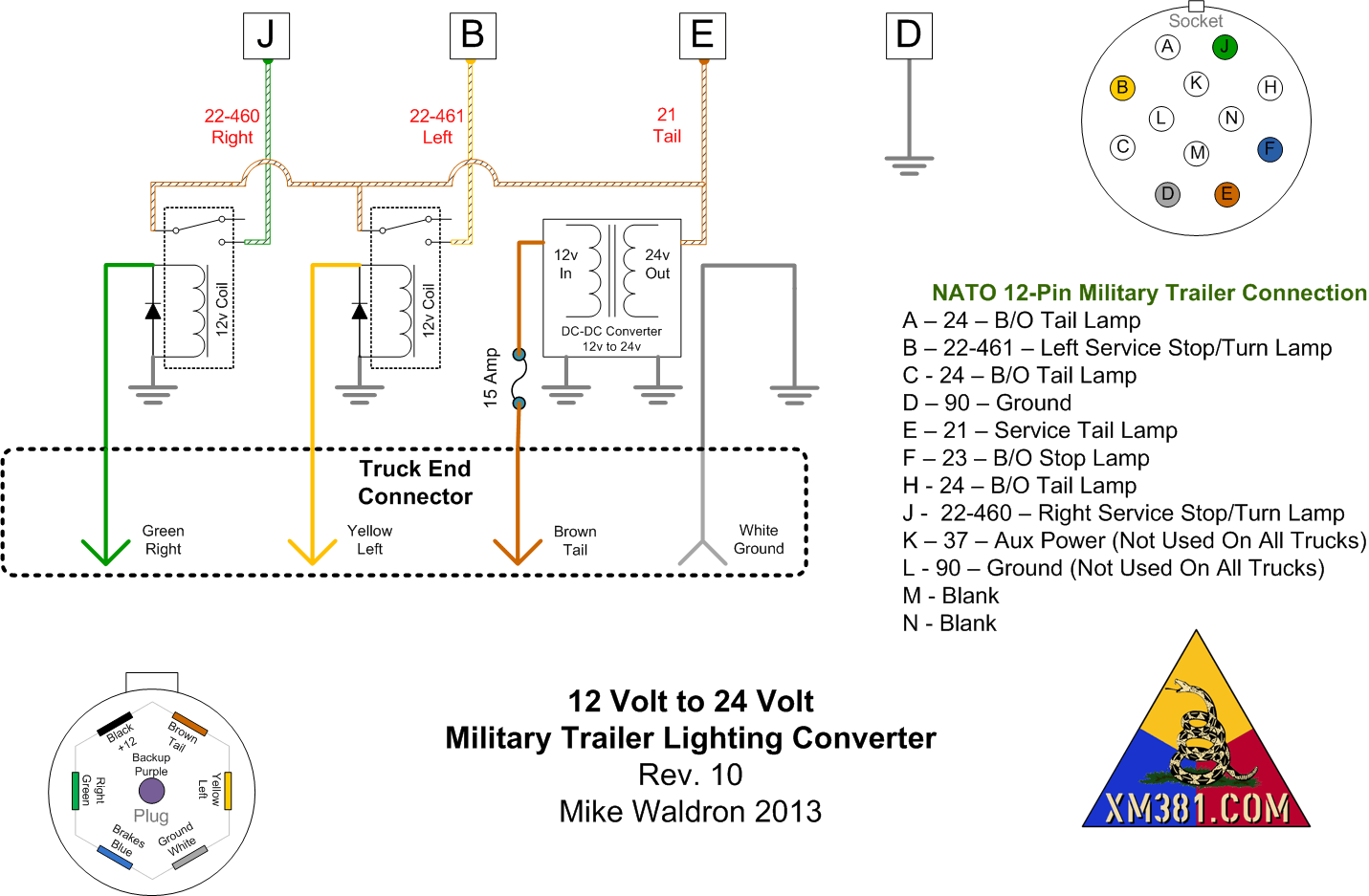 7 way round trailer plug wiring diagram heat sequencer xm381 12 volt civllian truck to 24 military lighting semi