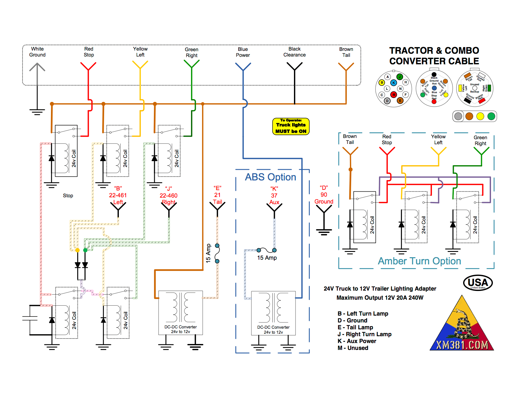 12v trailer wiring diagram 2001 gmc sonoma radio xm381 24 volt military truck to 12 civillian