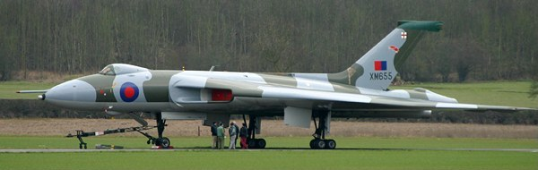 XM655 after an engine run in 2003, with the rudder removed for reskinning; Damien Burke