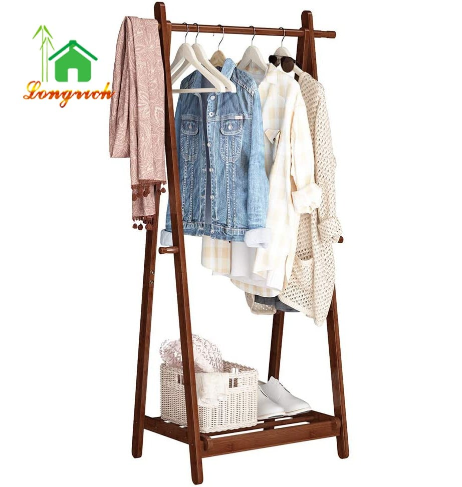 bamboo foldable clothes laundry rack a