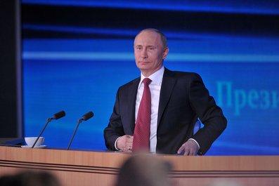 Президент В. Путин на пресс-конференции. Фото пресс-службы Президента России