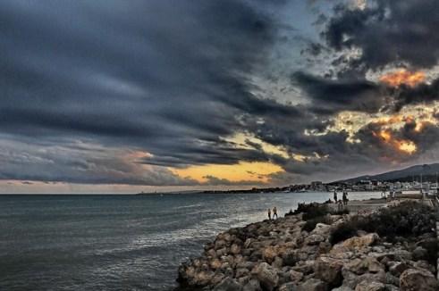 Puesta de sol con ñ de España Bahia de Palma-Mallorca