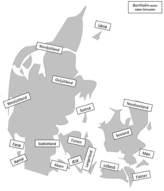 Dänemarkkarte Gebiete