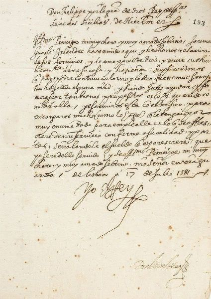 Carta manuscrita de Felipe II