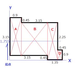 張りのある建物の中心の求め方4