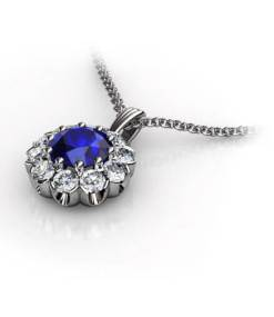 hängsmycke blå safir och diamanter