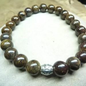 Bracelet Bronzite - perles rondes 8 mm