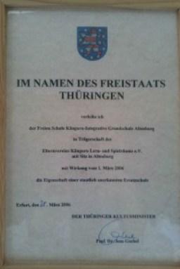 Urkunde zur staatlichen Anerkennung