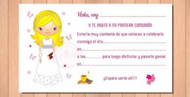 invitación niña