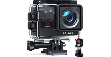 Victure Nueva Versión 4K/50FPS Cámara Deportiva Wi-Fi 4K Ultra HD 20MP con Control Remoto y Pantalla Táctil