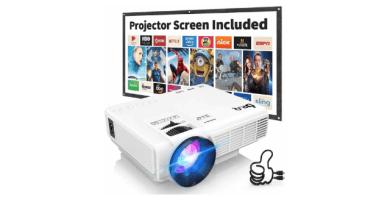 Proyector DR.Q con Pantalla de Proyección, 5000 Lúmenes Proyector de Video Soporta Full HD 1080P