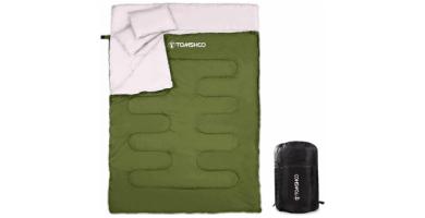 TOMSHOO Saco de Dormir Doble Adulto Acampada, Saco de Dormir Rectangular Convierte en 2 Sacos Individuales