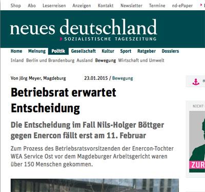Artikel auf neues-deutschland.de vom 23. Januar 2015