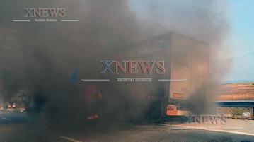 Ремарке на ТИР изгоря на магистралата