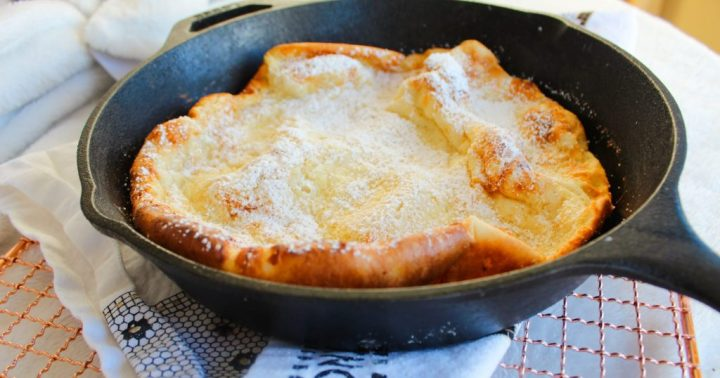 lodge skillet with dutch baby pancake