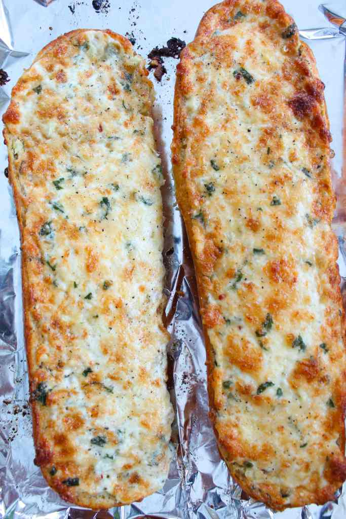 garlic cheese bread on tin foil