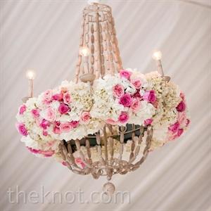 Floral Chandelier Reception Decor