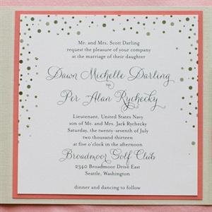 Pink and Gold Polka Dot Wedding Invitations
