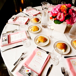 Modern Pink and White Table Setting
