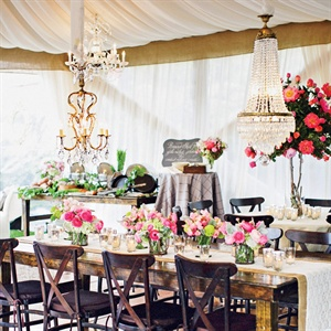 Hanging Chandelier Reception Decor