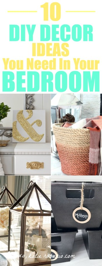 I just moved and I needed to update my old bedroom decorations. So by searching Pinterest I saw these great ideas! I love decorating so this is very exciting for me! I don't have a lot of money to spend on new décor so I made my own DIY bedroom décor! Decorate for less with these dollar store DIY bedroom projects. These ideas can be made for under $10 or at the dollar store!