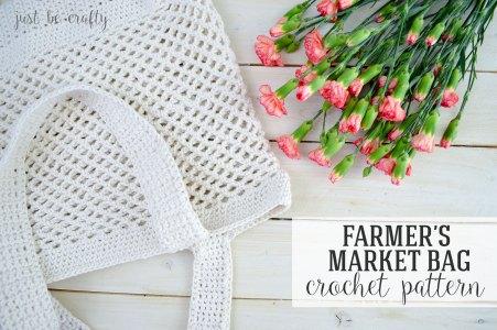 diy crochet pattern famers market tote bag for produce shopping