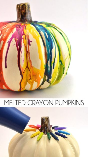 diy decor for halloween melted crayon pumpkin
