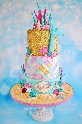 Mermaid Sequins Birthday Cake