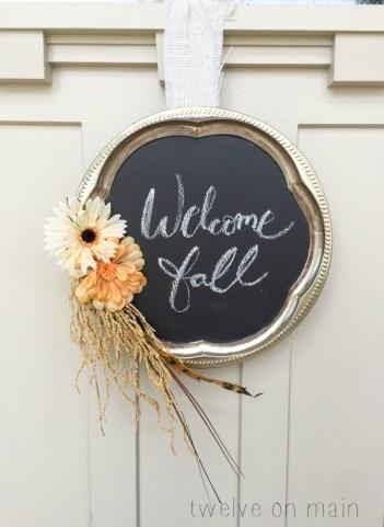 DIY fall home decor fall chalkboard wreath for front door