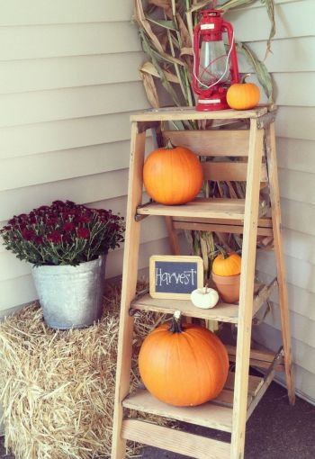 Rustic front door front ladder farmhouse style. DIY fall home decorations that are easy to make