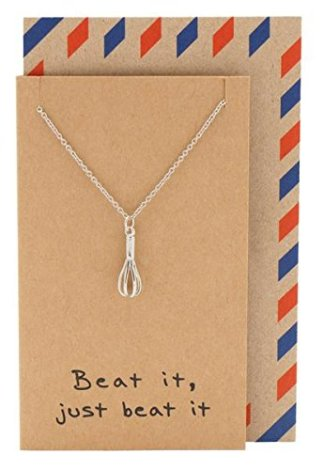 Holiday gifts for the home cook 2017. Whisk egg beater pendant necklace. This holiday shopping list is amazing! I think this post is so helpful for staying on a budget. Often times cooking gifts are so expensive but these are so useful for the kitchen and under budget. This is for the home cooks! Love it!