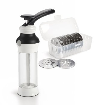 Holiday Gift Guide 2017: for the home baker. Easy to use cookie press.It can be so difficult to shop for a home baker and I don't know where to start. But this guide is perfect! These tools and gift ideas are amazing! I love the cute necklace to the stand mixer gifts! They all work for someone who loves to bake! Saving for later!