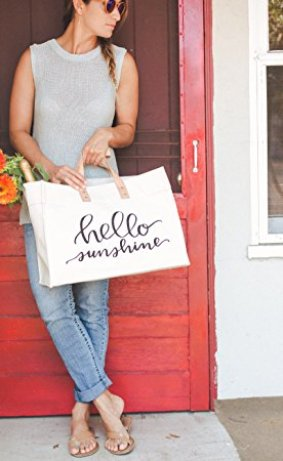 Hello Sunshine Canvas Tote Beach Bag. I love this guide! OMG! its so perfect for this holiday shopping season! I think most girls would love something from this post! The gift guide for her is perfect since everything is under $50. It certainly is going to make online shopping so much easier! Saving it for later!