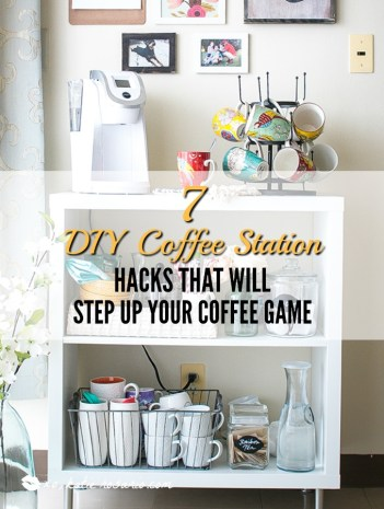 7 diy coffee station hacks that will step up your coffee for Countertop coffee bar ideas