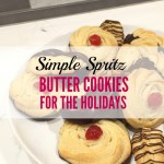 Simple Spritz Butter Cookies for the Holidays: I seriously love spritz cookies they are butter and taste so good dipped in chocolate! I also love the homemade raspberry sauce on top of the pretty rosettes. These are also called Strassburger cookies that have a hint of cardamom spice. My family and I love these cookies. I'm a huge fan of this recipe and it's easy to follow tutorial. This recipe is great for a Spritz cookie press. Its' so easy and simple to make for anyone! Saving for later!