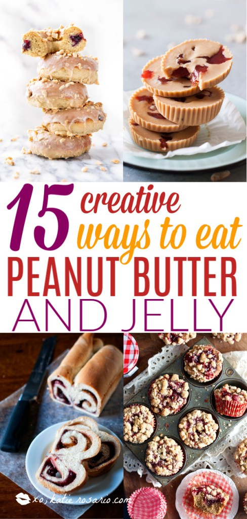 15 Creative Ways to Eat Peanut Butter and Jelly | Learn how these creative peanut butter and jelly recipes go beyond the classic sandwich. Choose from Peanut Butter and Jelly Cheesecake or Donuts to PB & J Muffins or Hand Pies. These peanut butter and jelly recipes make lovely desserts, snacks or anytime treats that you and your family will totally love! #xokatierosario #peanutbutterandjelly #pbjdesserts #easypb&jdesserts
