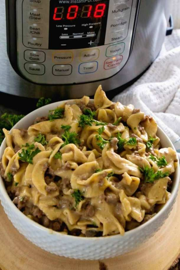 Instant Pot Hamburger Stroganoff | Learn how to make easy pasta recipes you know and love in a one-pot wonder machine like the instant pot. These instant pot pasta recipes may seem too good to be true. With a little cleanup, you can have delicious soul-satisfying instant pot comfort food meals you can't wait to make. #xokatierosario #instantpotrecipes #instantpotpastarecipes #quickpastarecipes