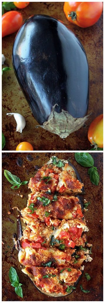 Skinny Sausage Parmesan Stuffed Eggplant | Today we are looking at 16 clean eating dinners that'll take 30 minutes to make. It's nice to have some quick and easy clean eating recipes like these that you can refer back to. These healthy meals take 30 minutes so you can enjoy the rest of your night full and satisfied. #xokatierosario #cleaneatingdinnerrecipes #healthymeals #30minuterecipes