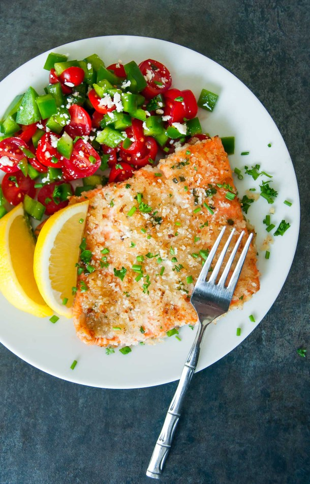 Herb Crusted Dijon Salmon | Today we are looking at 16 clean eating dinners that'll take 30 minutes to make. It's nice to have some quick and easy clean eating recipes like these that you can refer back to. These healthy meals take 30 minutes so you can enjoy the rest of your night full and satisfied. #xokatierosario #cleaneatingdinnerrecipes #healthymeals #30minuterecipes