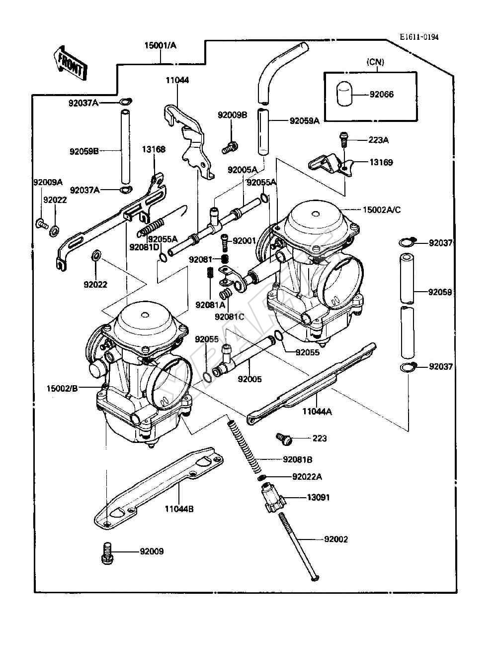 hight resolution of kawasaki 454 ltd en450 a4 fra 1988 originale reservedele fra 1987 454 kawasaki engine diagram