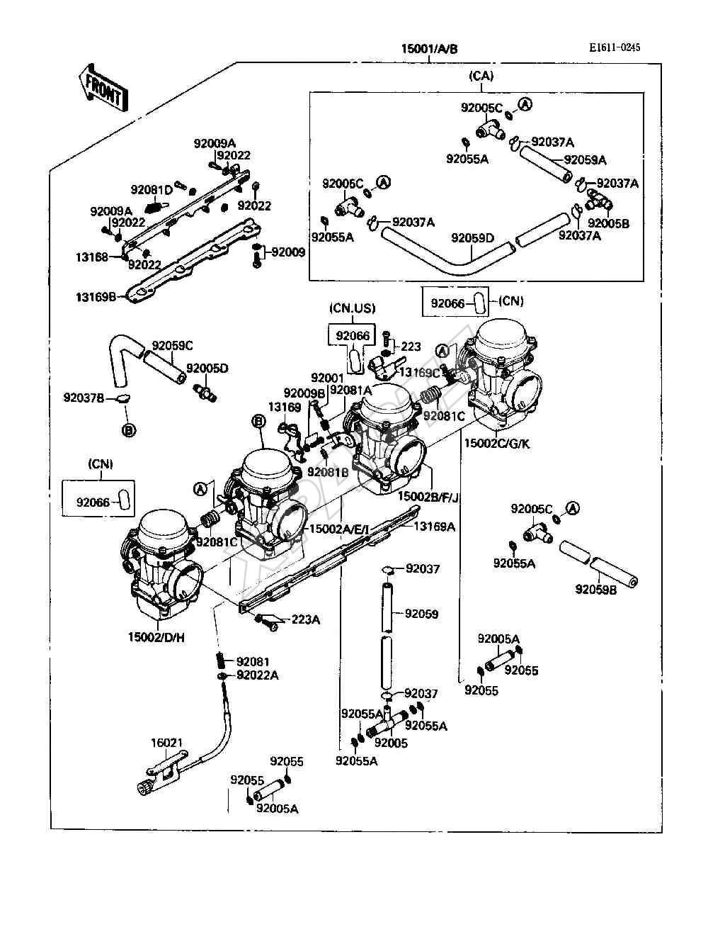 Kawasaki Ninja 600R (ZX600-C1) Carburetor (1988)