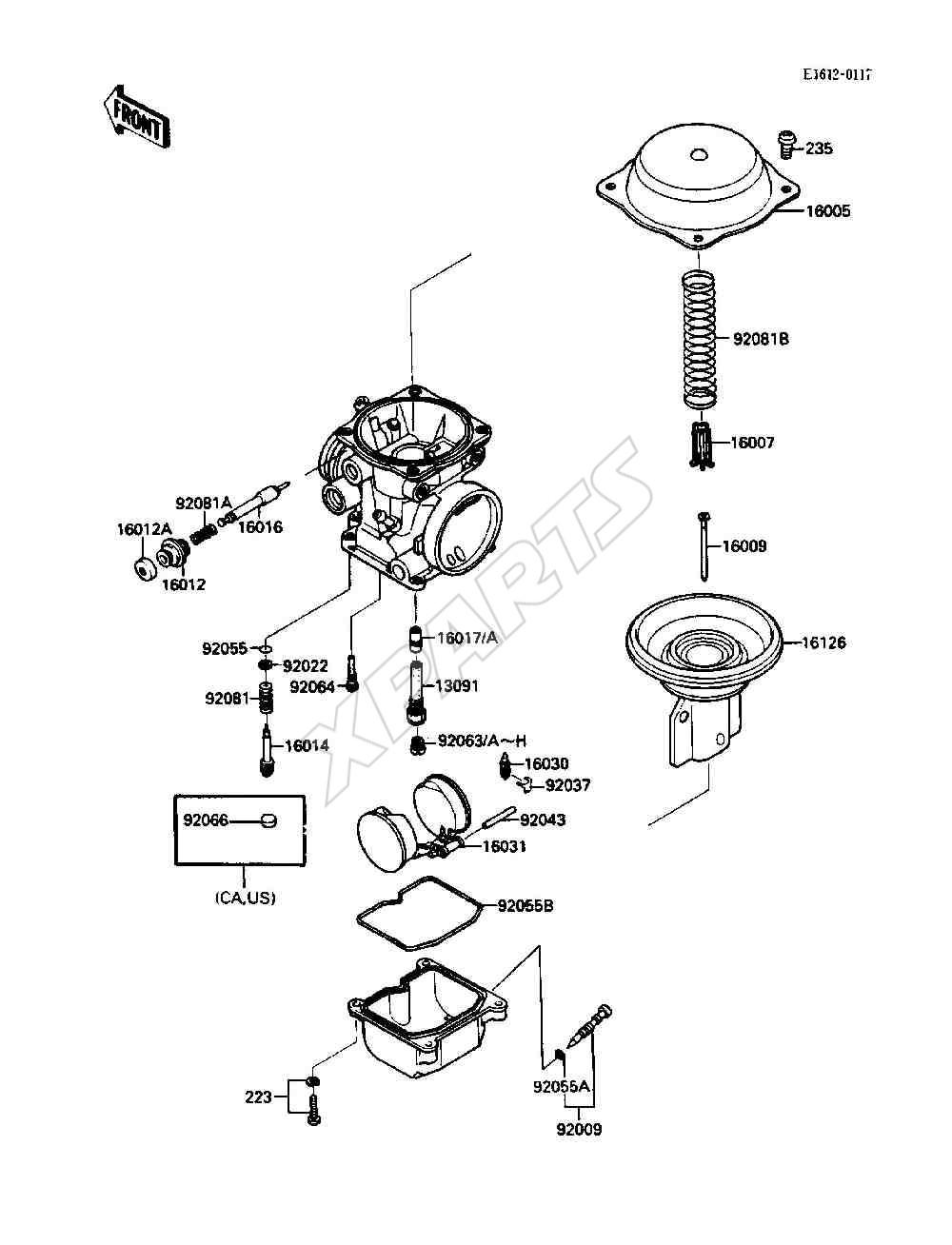 Kawasaki Ninja 750R (ZX750-F2) Carburetor Parts (1988