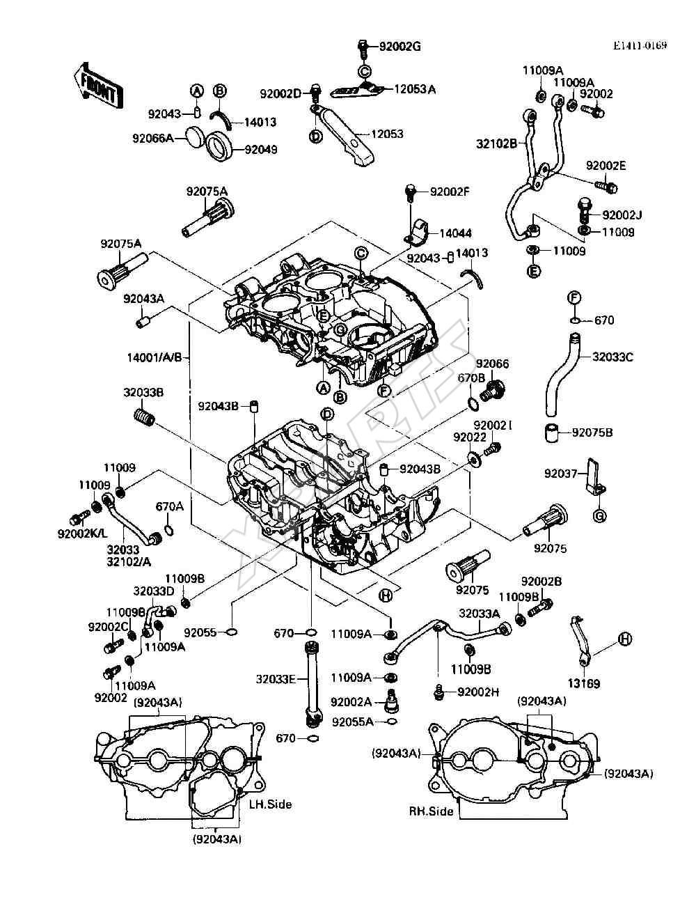 Kawasaki 454 LTD (EN450-A2) Crankcase (1986)