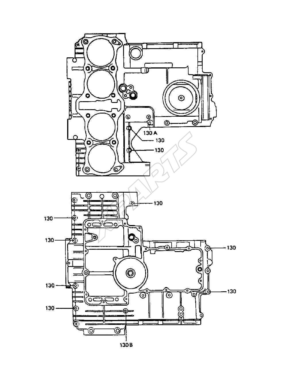 Kawasaki Police 1000 (KZ1000-P6) Crankcase Bolt Pattern